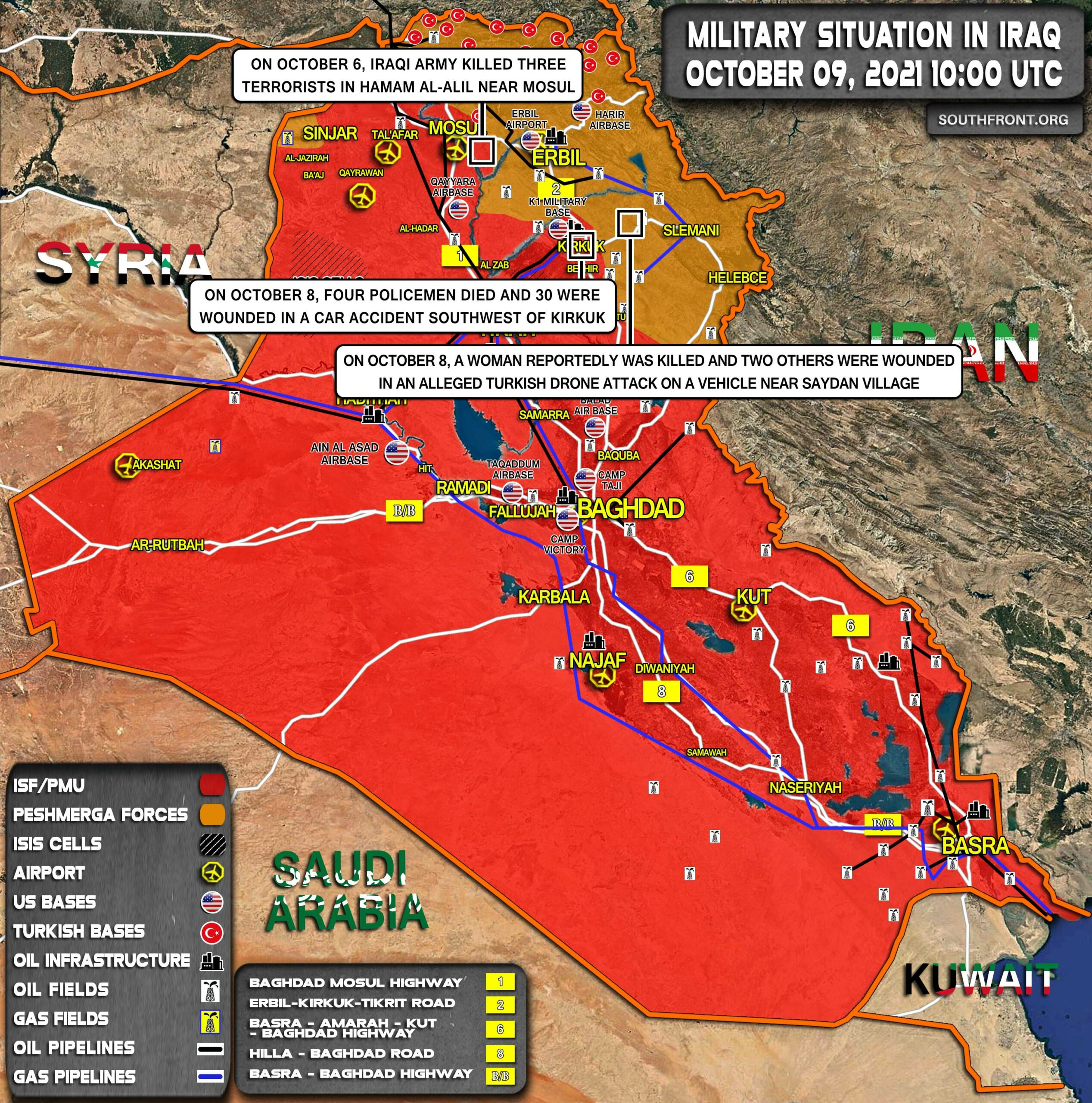 Military Situation In Iraq On October 9, 2021 (Map Update)