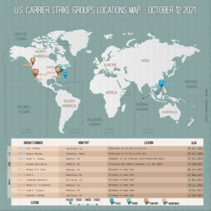 Locations Of US Carrier Strike Groups – October 12, 2021